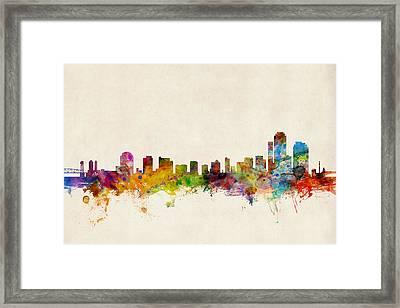 Wilmington Delaware Skyline Framed Print by Michael Tompsett