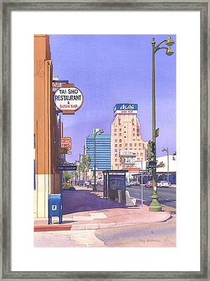 Wilshire Blvd At Mansfield Framed Print by Mary Helmreich