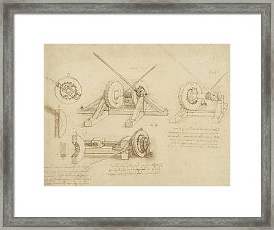Winch Great Spring Catapult And Ladder From Atlantic Codex Framed Print by Leonardo Da Vinci