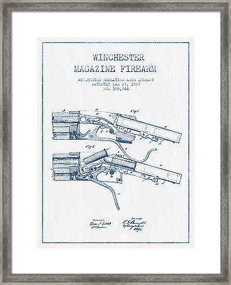 Winchester Firearm Patent Drawing From 1877 -  Blue Ink Framed Print by Aged Pixel