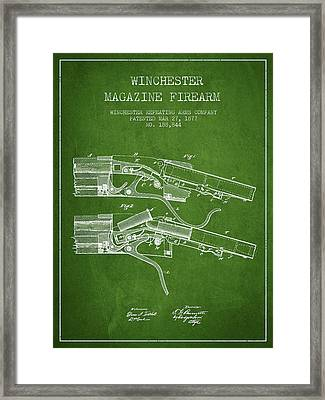 Winchester Firearm Patent Drawing From 1877 - Green Framed Print by Aged Pixel