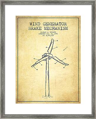 Wind Generator Break Mechanism Patent From 1990 - Vintage Framed Print by Aged Pixel