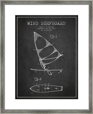 Wind Surfboard Patent Drawing From 1982 - Dark Framed Print by Aged Pixel