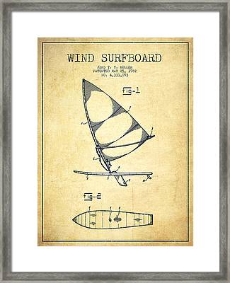 Wind Surfboard Patent Drawing From 1982 - Vintage Framed Print by Aged Pixel
