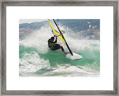 Wind Surfing In The Ocean Tarifa Framed Print by Ben Welsh