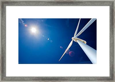 Wind Turbine And Sun  Framed Print by Johan Swanepoel