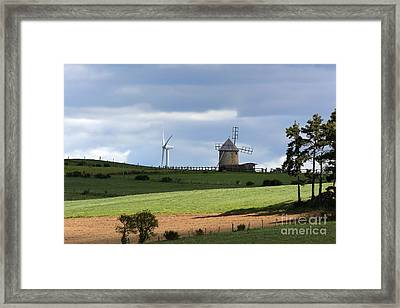 Wind Turbine And Windmill Framed Print by Bernard Jaubert