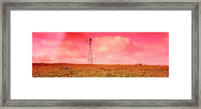 Wind Turbine In A Field, Amish Country Framed Print by Panoramic Images