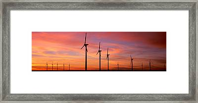 Wind Turbine In The Barren Landscape Framed Print by Panoramic Images