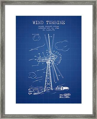 Wind Turbine Patent From 1944 - Blueprint Framed Print by Aged Pixel