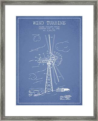 Wind Turbine Patent From 1944 - Light Blue Framed Print by Aged Pixel