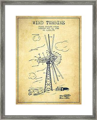 Wind Turbine Patent From 1944 - Vintage Framed Print by Aged Pixel