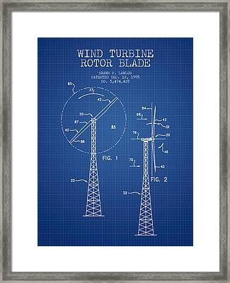 Wind Turbine Rotor Blade Patent From 1995 - Blueprint Framed Print by Aged Pixel