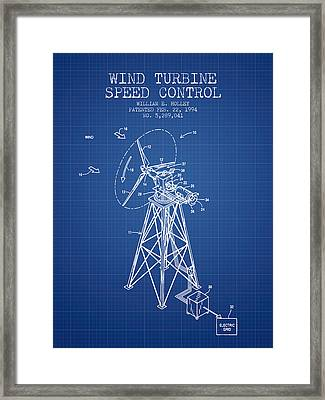 Wind Turbine Speed Control Patent From 1994 - Blueprint Framed Print by Aged Pixel