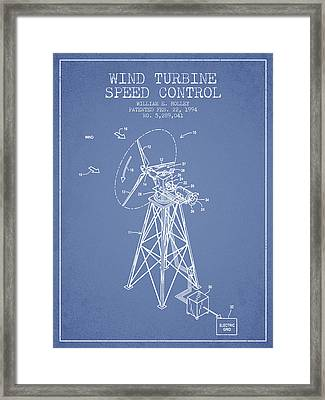 Wind Turbine Speed Control Patent From 1994 - Light Blue Framed Print by Aged Pixel