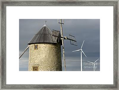 Wind Turbines And Windfarm Framed Print by Bernard Jaubert