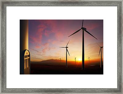 Wind Turbines At Sunset Framed Print by Johan Swanepoel