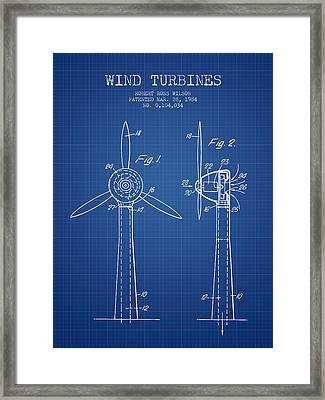 Wind Turbines Patent From 1984 - Blueprint Framed Print by Aged Pixel