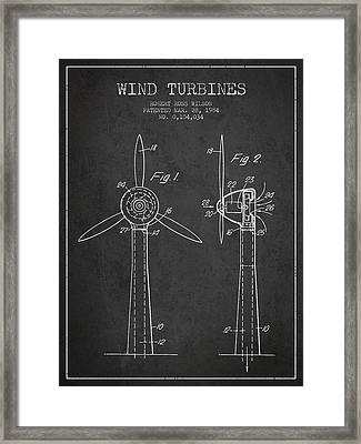 Wind Turbines Patent From 1984 - Dark Framed Print by Aged Pixel