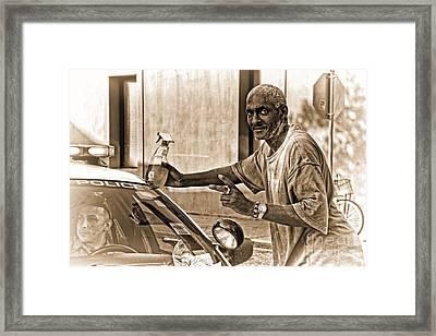 Windex Nopd In Sepia Framed Print by Kathleen K Parker