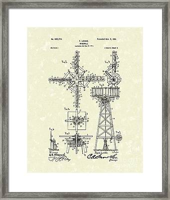Windmill 1901 Patent Art Framed Print by Prior Art Design