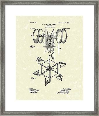 Windmill 1902 Patent Art Framed Print by Prior Art Design