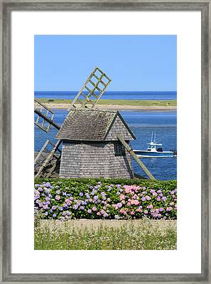 Windmill And Hydrangeas Chatham Waterfront Cape Cod Framed Print by John Burk