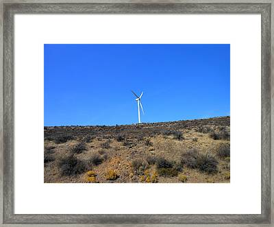 Windmill In The Desert Framed Print by Kay Gilley