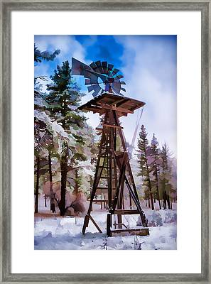 Windmill In The Snow Impressionistic Framed Print by Scott Campbell