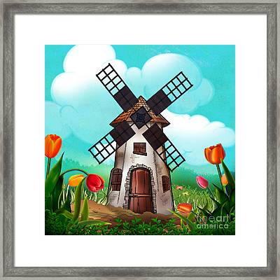 Windmill Path Framed Print by Bedros Awak