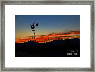 Windmill Silhouette Framed Print by Robert Bales
