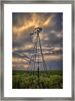 Windmill Storm Framed Print by Thomas Zimmerman