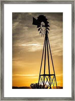 Windmill Sunset Framed Print by Mitch Shindelbower