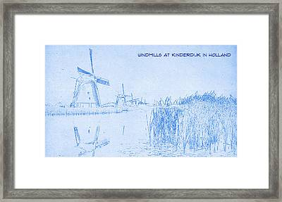 Windmills At Kinderdijk Holland - Blueprint Drawing Framed Print by MotionAge Designs