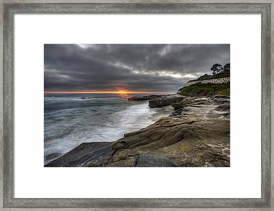 Windnsea Fence Framed Print by Peter Tellone