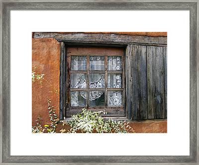 Window At Old Santa Fe Framed Print by Kurt Van Wagner
