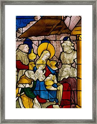 Window Depicting The Adoration Of The Kings Framed Print by Flemish School
