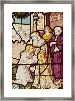 Window Depicting The Return Of The Prodigal Son, Cologne School Stained Glass Framed Print by German School