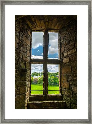 Window In Linlithgow Palace With View To A Beautiful Scottish Landscape Framed Print by Andreas Berthold