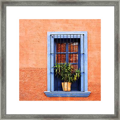 Window In San Miguel De Allende Mexico Square Framed Print by Carol Leigh