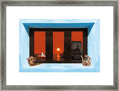 Window Into Greece 4 Framed Print by Eric Kempson