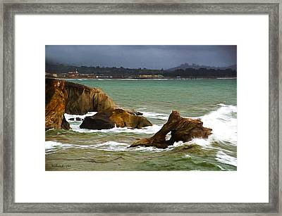 Window Rock In The Fog Framed Print by Barbara Snyder