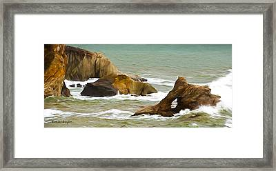 Window Rock In The Fog Detail Framed Print by Barbara Snyder