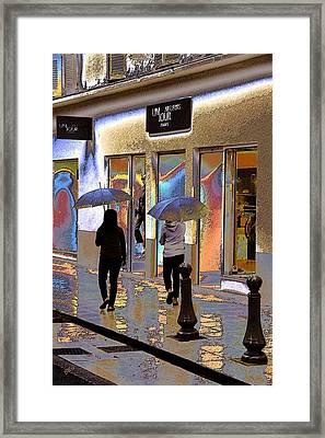 Window Shopping In The Rain Framed Print by Ben and Raisa Gertsberg