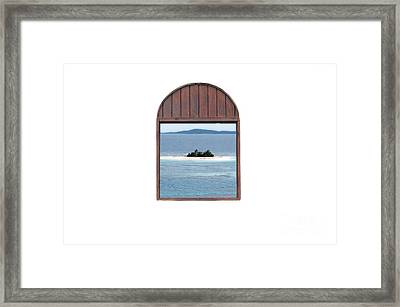 Window View Of Desert Island Puerto Rico Prints Diffuse Glow Framed Print by Shawn O'Brien