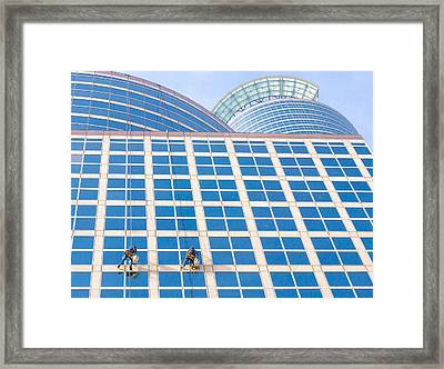 Window Washers Framed Print by Jim Hughes