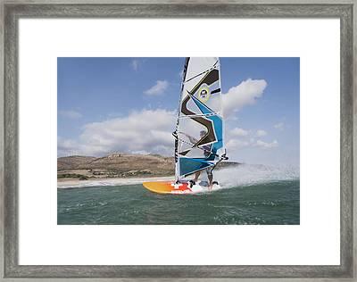 Windsurfer Along The Coast Tarifa Cadiz Framed Print by Ben Welsh