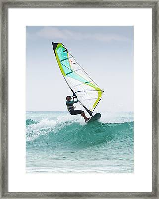 Windsurfing Off Punta Paloma Tarifa Framed Print by Ben Welsh