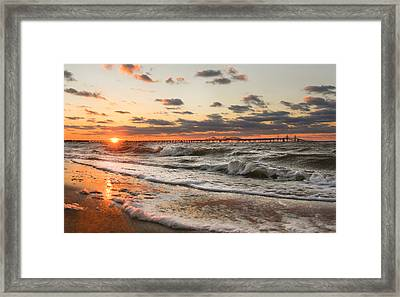 Windy Chesapeake Bay Bridge Sunset Framed Print by Mark  Dignen