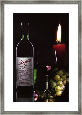 Wine And Candle Light Framed Print by Daniel Hagerman